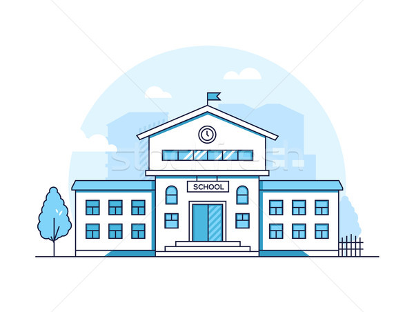 School building - modern thin line design style vector illustration Stock photo © Decorwithme