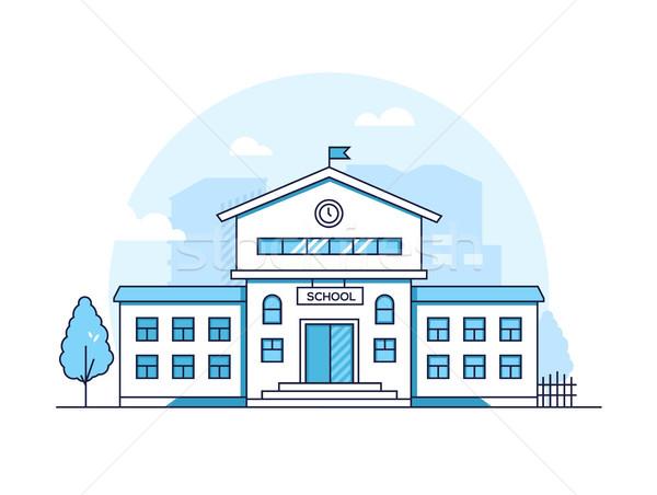 Okul Bina modern ince hat dizayn Stok fotoğraf © Decorwithme