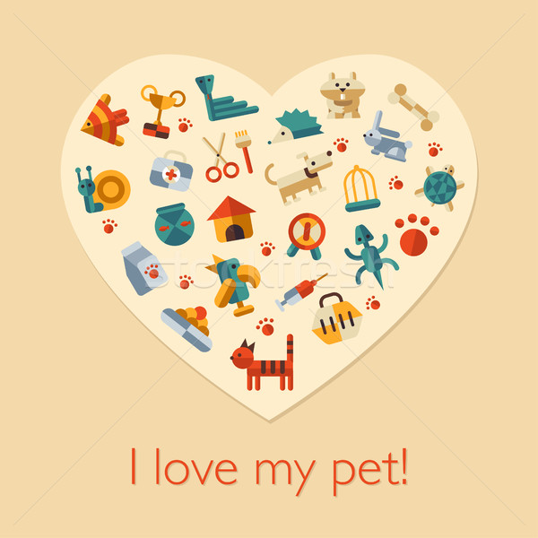 Illustration of flat design pets composition Stock photo © Decorwithme