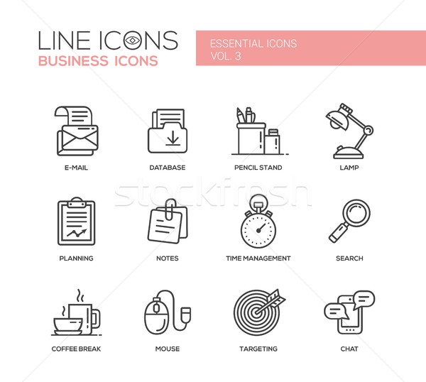 Set of modern office flat design icons and pictograms. Stock photo © Decorwithme