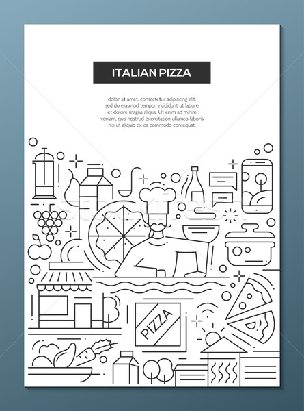 Italian Pizza - line design brochure poster template A4 Stock photo © Decorwithme
