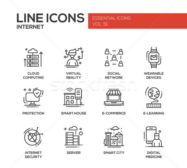 Foto stock: Internet · projeto · linha · conjunto · moderno