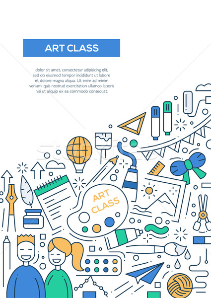 Art Class - line design brochure poster template A4 Stock photo © Decorwithme