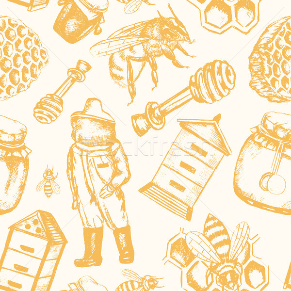 Bee Garden - hand drawn seamless pattern Stock photo © Decorwithme