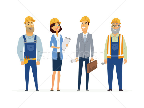 Construction Workers - modern flat composition. Stock photo © Decorwithme