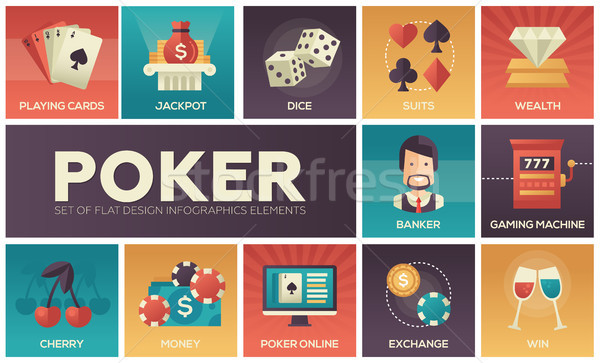 Poker - vector modern flat design icons set Stock photo © Decorwithme