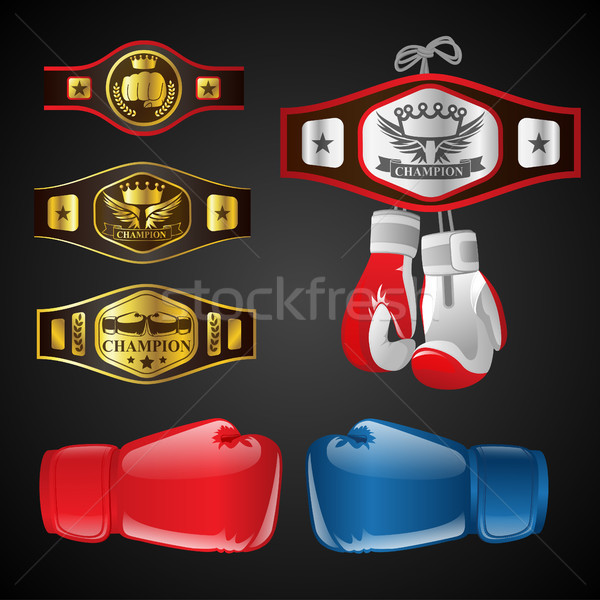 Set of MMA objects - modern vector realistic isolated clip art Stock photo © Decorwithme