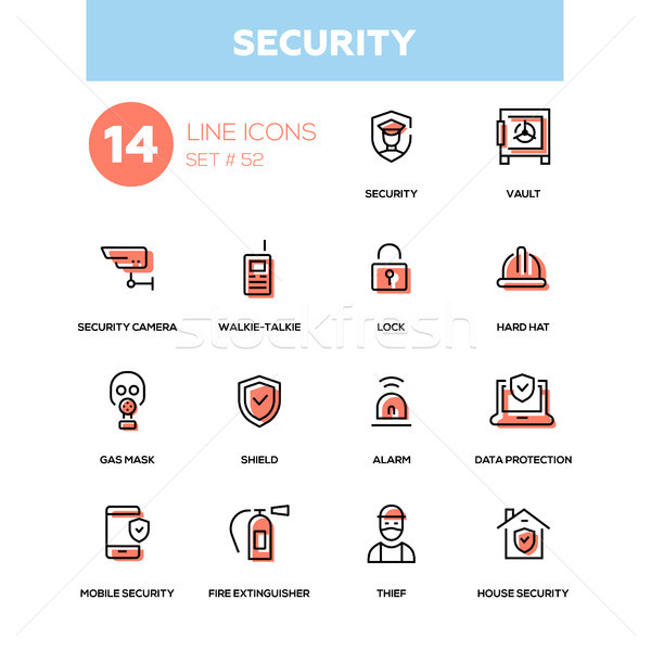 Business concept, security - line design icons set Stock photo © Decorwithme