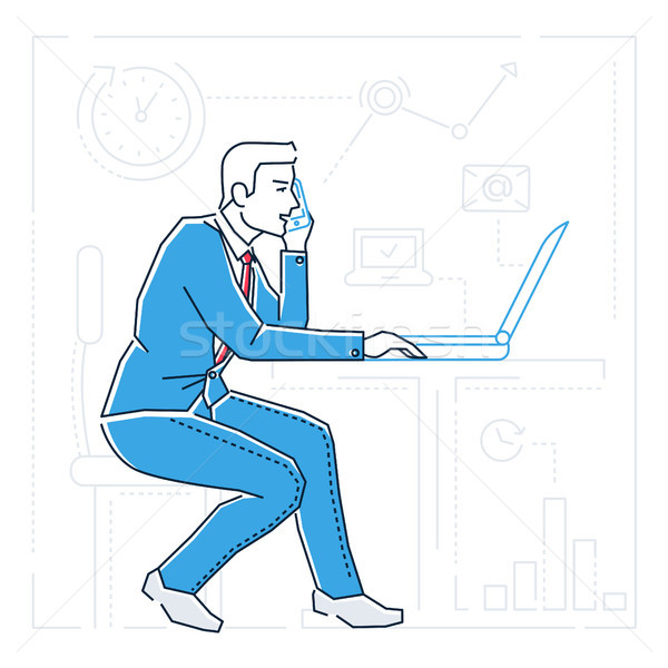 Businessman at the computer - line design style isolated illustration Stock photo © Decorwithme