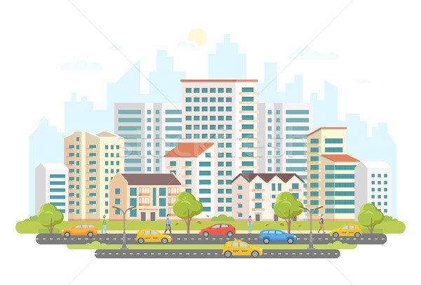 Busy street life - modern colorful flat vector illustration Stock photo © Decorwithme
