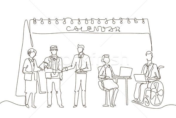 Incontro di lavoro uno line design stile illustrazione Foto d'archivio © Decorwithme