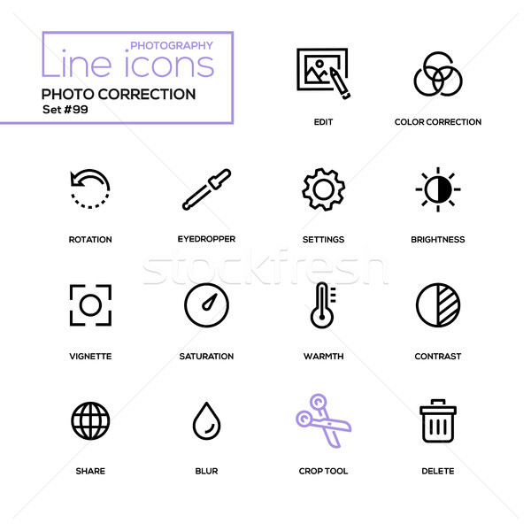 Photo correction - modern line design icons set Stock photo © Decorwithme