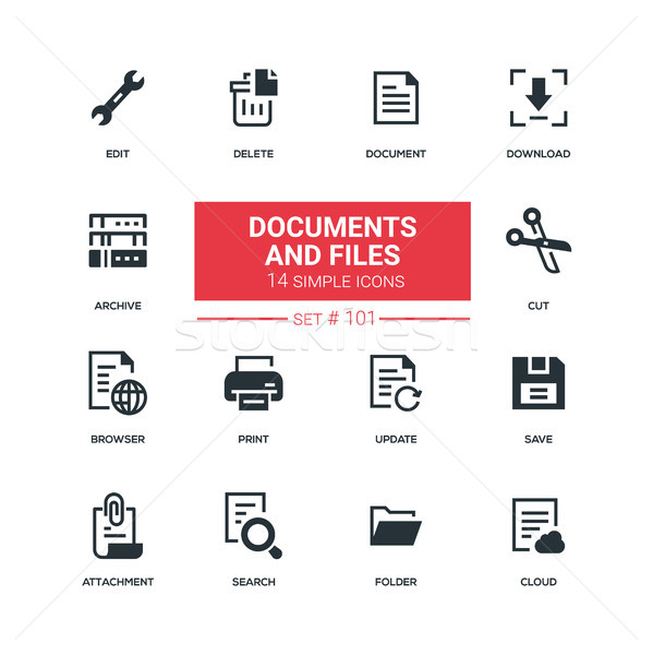 Documents and files - flat design style icons set Stock photo © Decorwithme