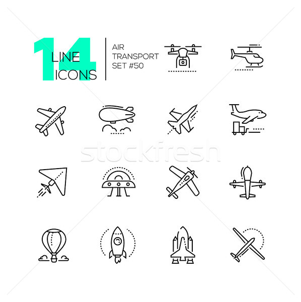 Air transport - thin line design icons set Stock photo © Decorwithme