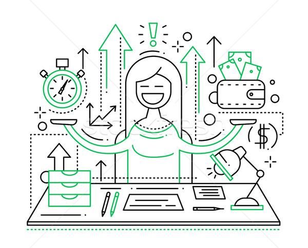 Il tempo è denaro line design illustrazione vettore moderno Foto d'archivio © Decorwithme