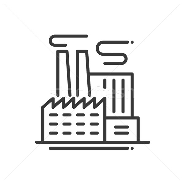 Factory Building - line design single isolated icon Stock photo © Decorwithme