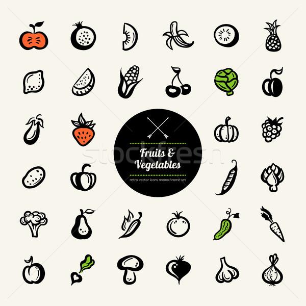 Сток-фото: набор · дизайна · фрукты · овощей · вектора