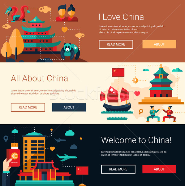 Flat design China travel banners set with famous Chinese symbols Stock photo © Decorwithme