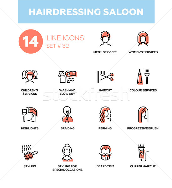 Hairdressing Saloon - modern vector single line icons set Stock photo © Decorwithme