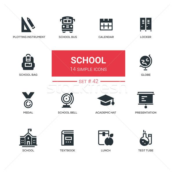 School concept - line design icons set Stock photo © Decorwithme