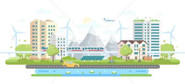 Eco-friendly city district - modern flat design style vector illustration Stock photo © Decorwithme