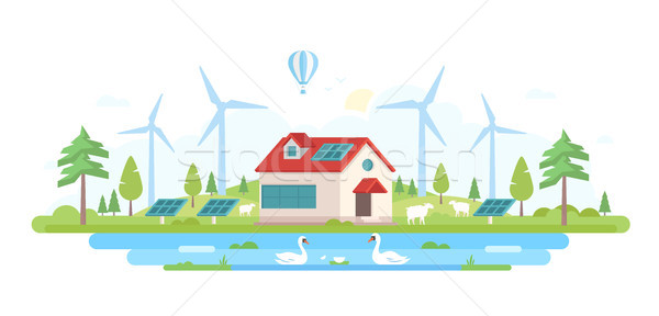 Eco-friendly farm - modern flat design style vector illustration Stock photo © Decorwithme