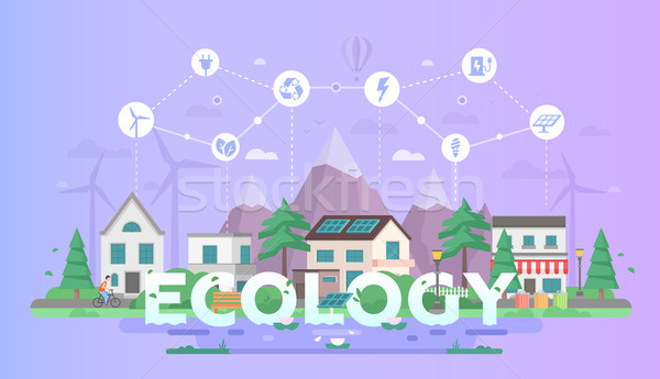 Eco-friendly town - modern flat design style vector illustration Stock photo © Decorwithme