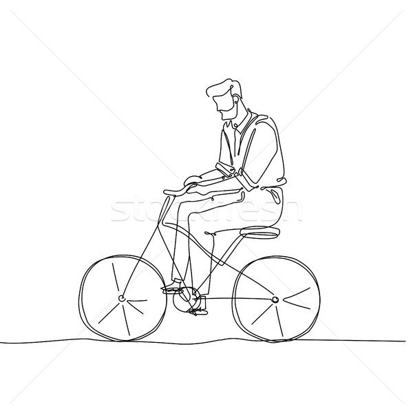 Man riding a bicycle - one continuous line design style illustration Stock photo © Decorwithme