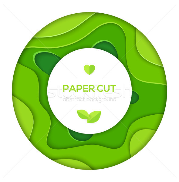 Grass green abstract layout - vector paper cut banner Stock photo © Decorwithme