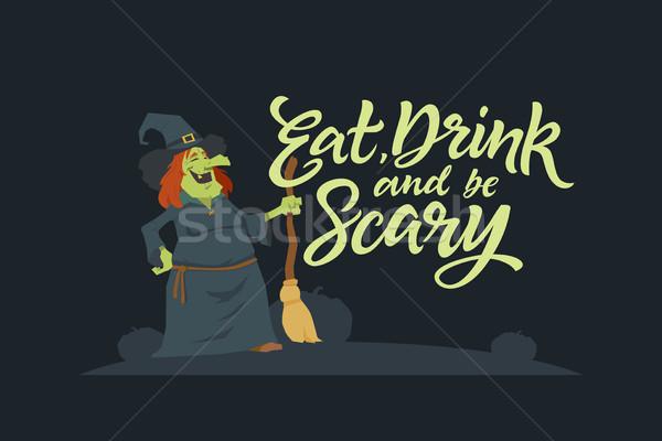 Eszik ital ijesztő modern vektor poszter Stock fotó © Decorwithme