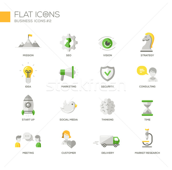 Stock photo: Office, business modern thin line design icons and pictograms