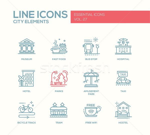ストックフォト: 市 · 要素 · 行 · デザイン · セット