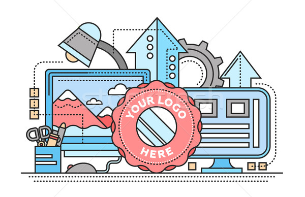 Logo Template, image Processing - flat line design website banner Stock photo © Decorwithme