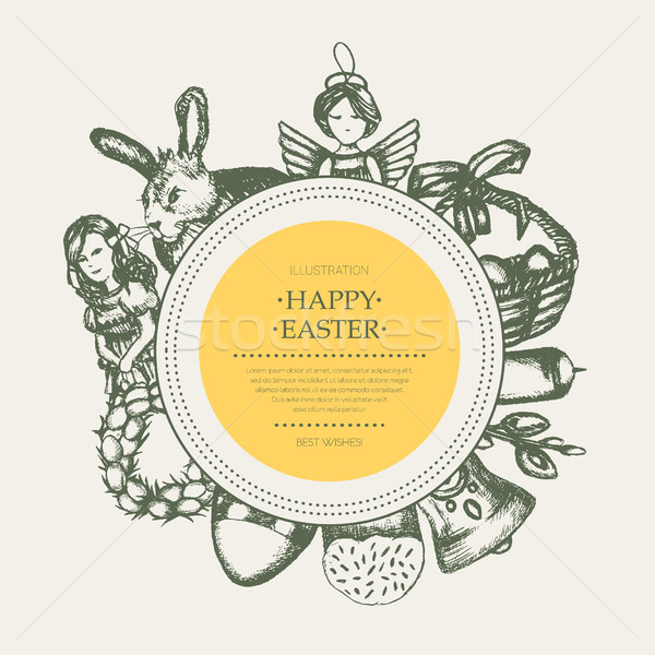 Happy Easter - monochromatic hand drawn round banner. Stock photo © Decorwithme