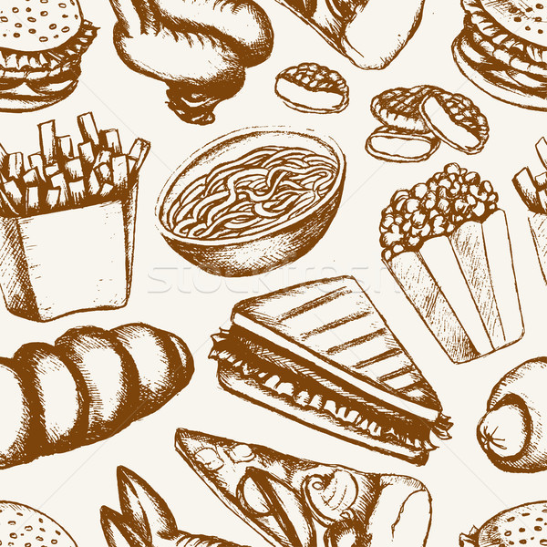 Fast food - one color hand drawn seamless pattern Stock photo © Decorwithme