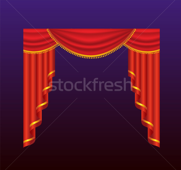 Curtains - realistic vector red drapes illustration Stock photo © Decorwithme