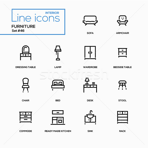 Furniture - line design icons set Stock photo © Decorwithme