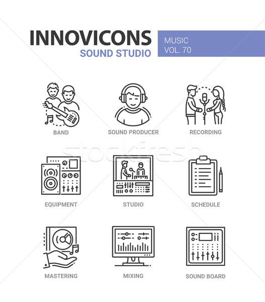 Sound studio - line design icons set Stock photo © Decorwithme