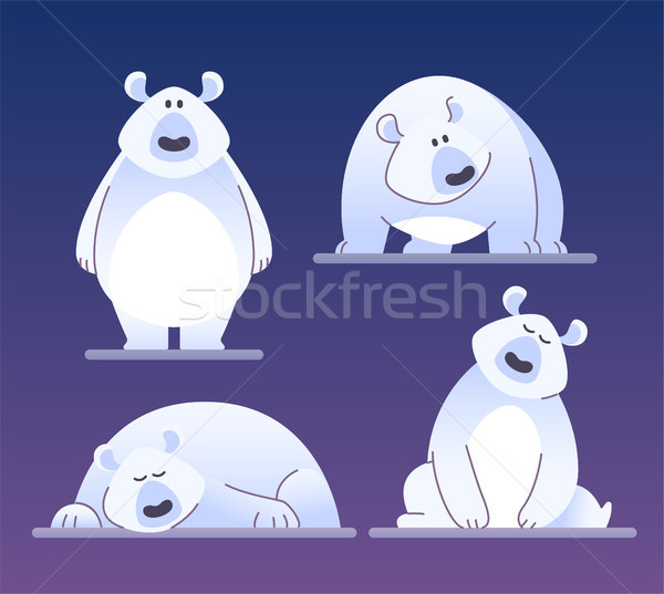 Stockfoto: Cute · ijsbeer · moderne · vector · cartoon