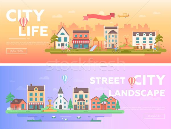 City life - set of modern flat vector illustrations Stock photo © Decorwithme