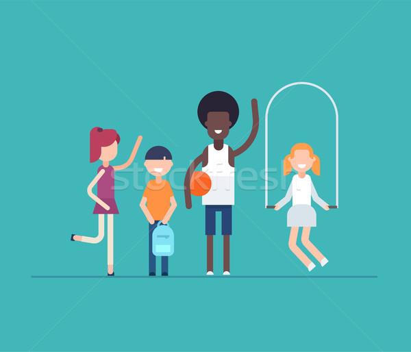 Children on PE lesson - modern flat design style isolated illustration Stock photo © Decorwithme