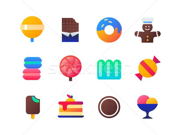 Sweets - set of flat design style icons Stock photo © Decorwithme