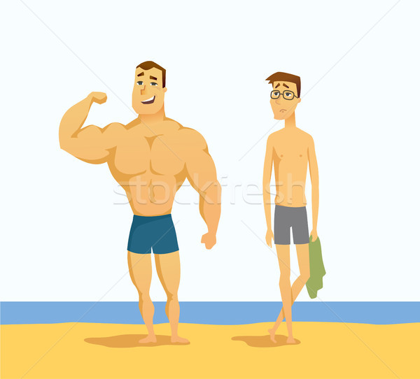 Strong and weak men - cartoon people character isolated illustration Stock photo © Decorwithme
