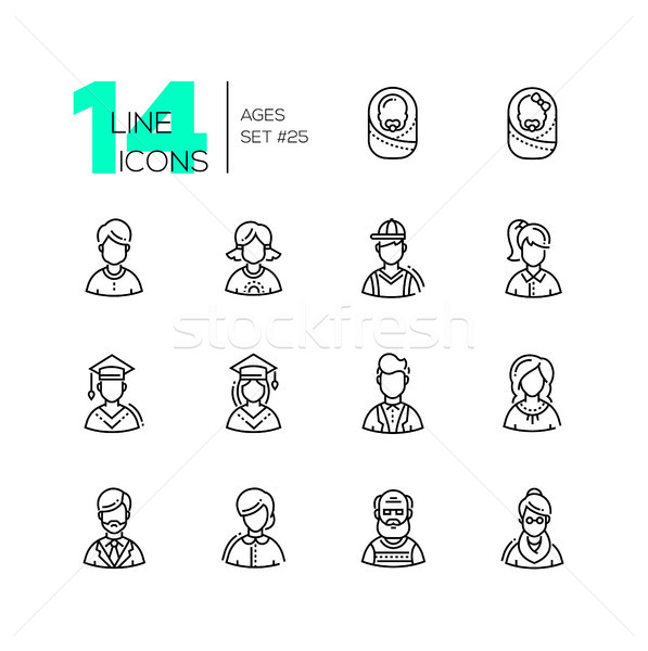 Ages - set of line design style icons Stock photo © Decorwithme