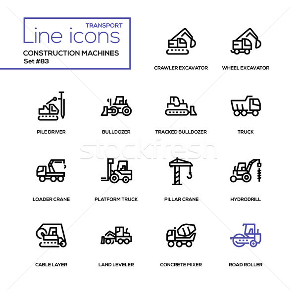 Construction machines - line design icons set Stock photo © Decorwithme