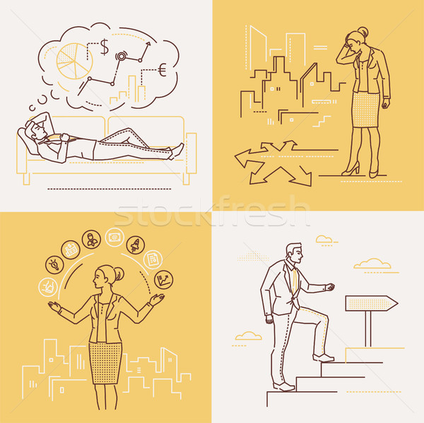 Business concepts - set of line design style illustrations Stock photo © Decorwithme