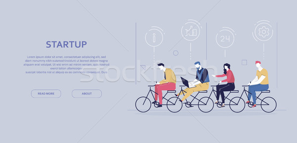 Startup - modern flat design style colorful banner Stock photo © Decorwithme