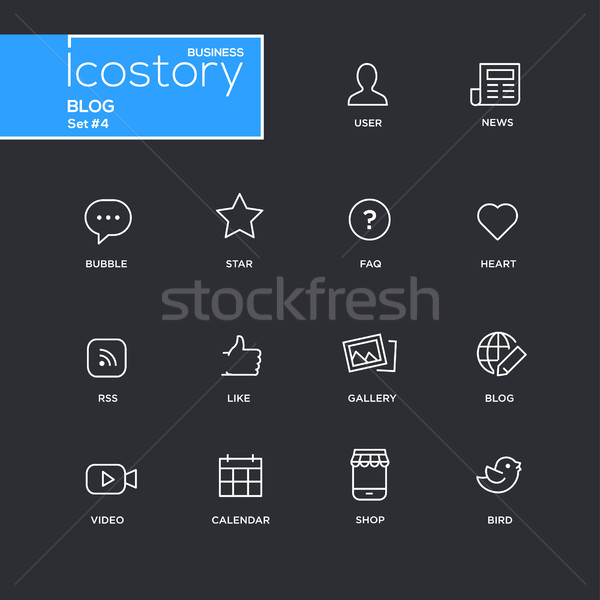 Modern blog simple thin line design icons, pictograms set Stock photo © Decorwithme