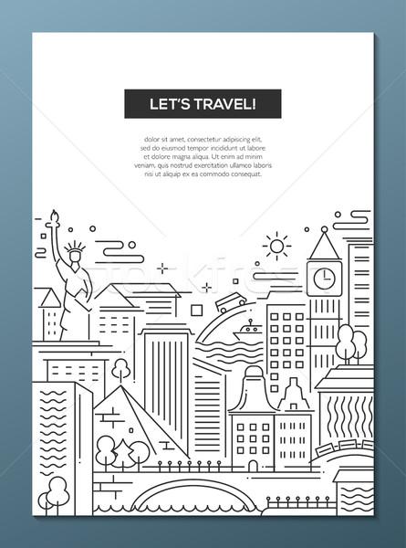 Foto d'archivio: Viaggio · line · design · banner · vettore · moderno