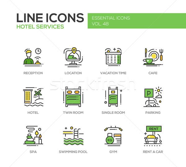 Hotel Services - flat design line icons set Stock photo © Decorwithme